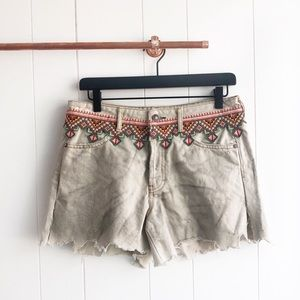 New Free People Embroidered Cut Off Denim Shorts